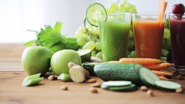 Thumbnail for Glasses Of Juice, Vegetables And Fruits On Table