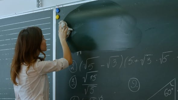 Thumbnail for Young Teacher Erasing Chalkboard.