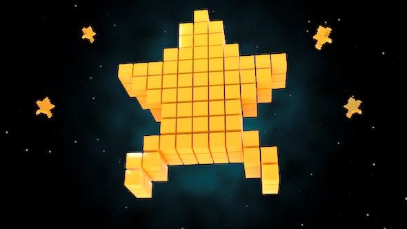 Thumbnail for 3D 8 Bit Retro Pixel Art Stars
