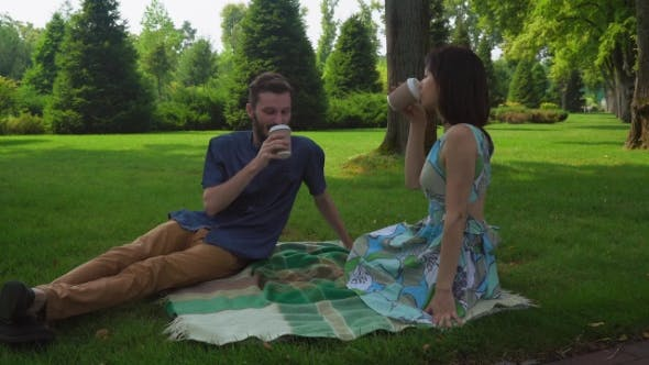 Thumbnail for The Guy With The Girl Sitting In The Park On Blankets On The Lawn And Drink Coffee.