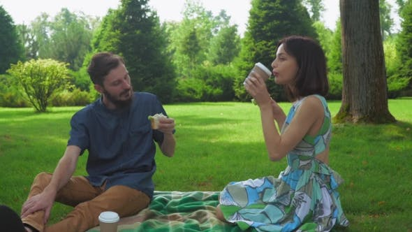 Thumbnail for The Guy With The Girl Eat Salad Sandwiches On Picnic Washed Down With Coffee.
