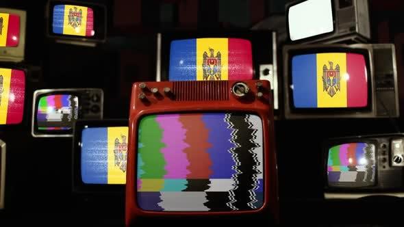 Flag of Moldova on Retro TV Stack.