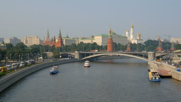 Thumbnail for Panorama Of Moscow With Kremlin And River In Summer Time Lit Of Bright Setting Sun