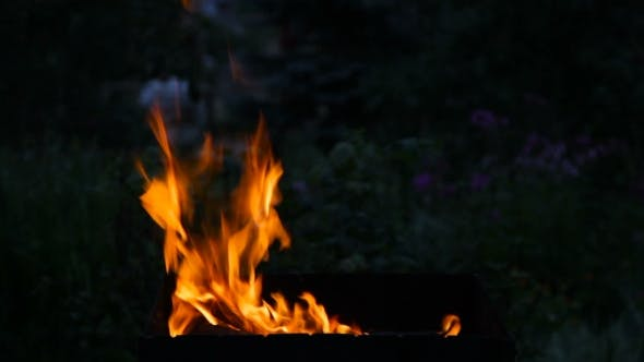 Fire Flaming In The  Brazier