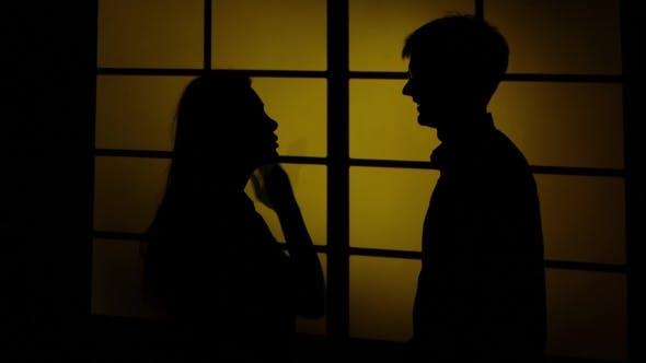 People And Domestic Violence. Silhouette.