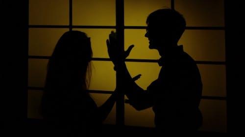 Domestic Violence. Silhouette.
