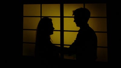 Man Hurting And Hitting His Wife. Silhouette.