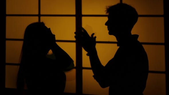 Thumbnail for Disagreement Between Two People. Relationships. Silhouette.