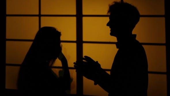 Relationship Difficulties. Silhouette.