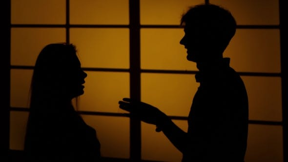 Thumbnail for Couple Fighting At Home. Relations With Quarrels. Silhouette.
