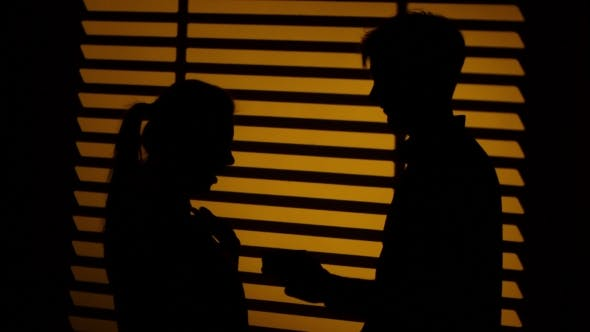 Thumbnail for Man Makes a Gift To a Woman. Kiss Couple. Silhouette.