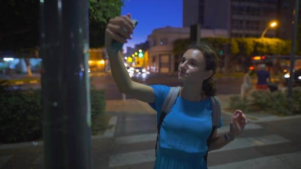 Thumbnail for Happy Woman Tourist Taking Photo Picture With Her Smartphone