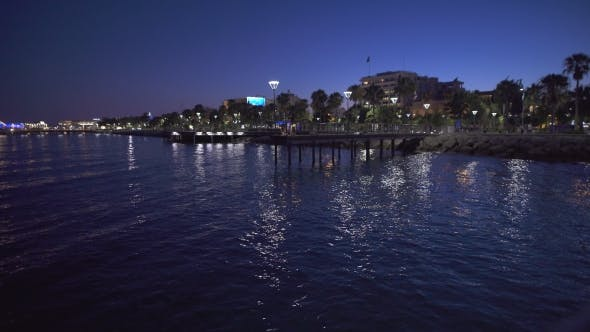 Thumbnail for Port Of Limassol At Night Time. Reflection Of The Lights