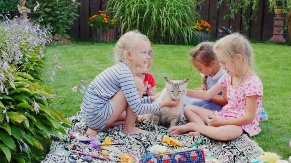 Thumbnail for Children Play With a Cat In The Yard. Sitting On a Green Meadow, Stroking The Cat