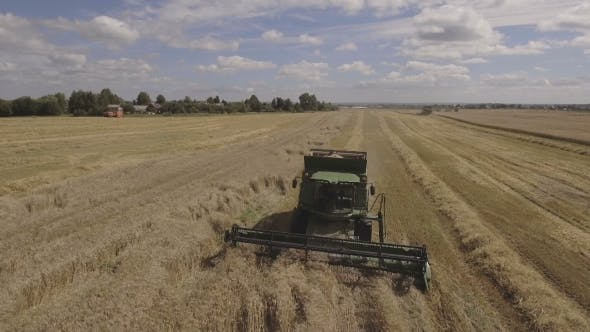 Thumbnail for Aerial View Combine Harvesting a Field Of Wheat.