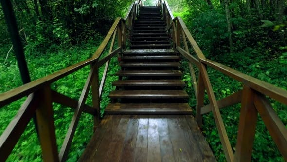 Thumbnail for Walk Up Via Wooden Stairs With Railing