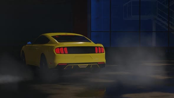 Thumbnail for Luxury Sports Yellow Car Drifting at Night Parking Garage