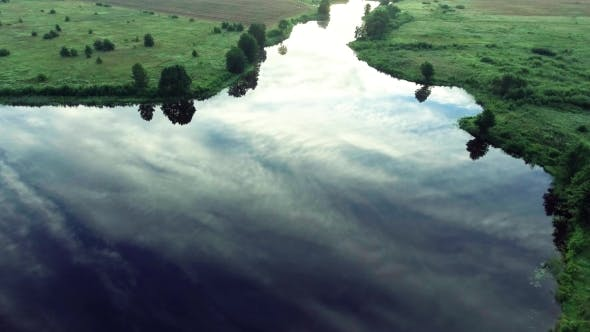 Cover Image for River At Morning Birds Eye View