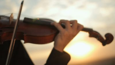 Violin. Violinist Playing At Sunset. Strings And Bow.