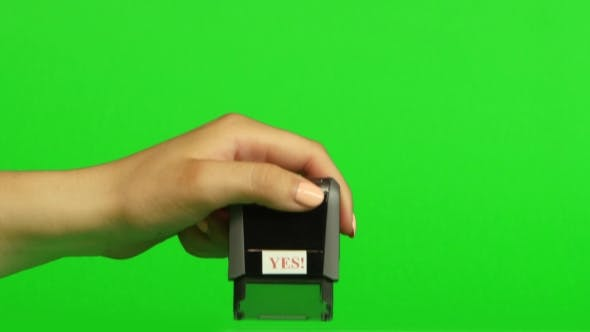Thumbnail for Stamp Yes On a Green Background. Green Screen