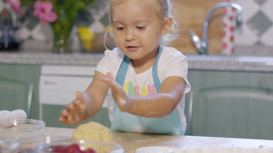 Thumbnail for Little Girl Having Fun Kneading The Pastry