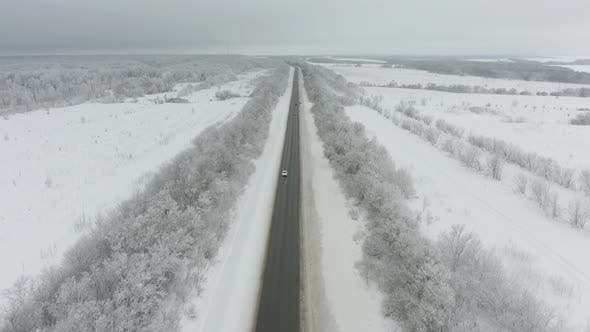 Thumbnail for Cars on Road in Winter. Aerial View