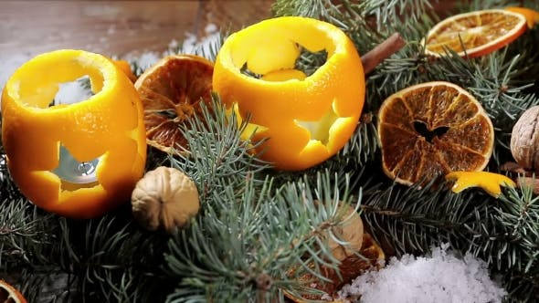 Thumbnail for Dried Orange Slices And Oranges With Cloves. Christmas Decorations