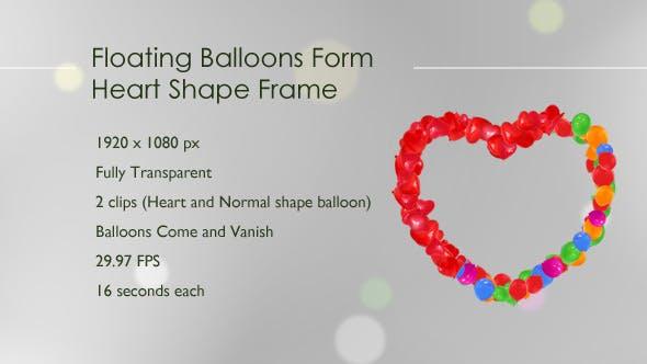 Floating Balloons Form Heart Shape Frame