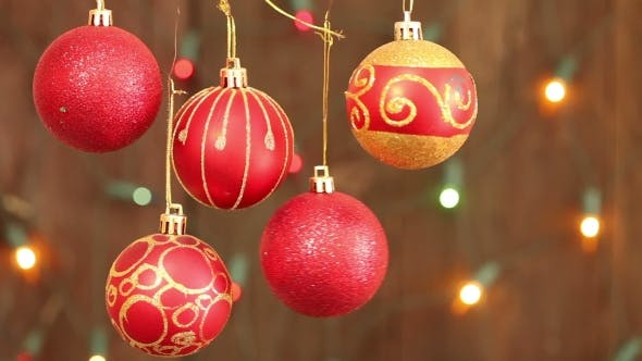 Thumbnail for Red Christmas Balls Hanging On Strings