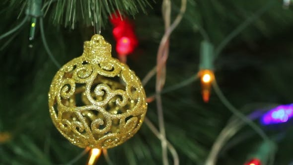 Thumbnail for Openwork Gold Balls On a Christmas Tree