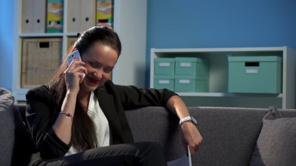 Thumbnail for Business Woman Working And Talking By Phone