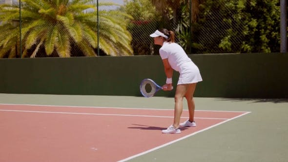 Thumbnail for Attractive Tennis Player Standing Ready To Receive