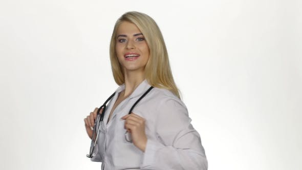 Thumbnail for Medical Female Doctor Looking To Camera. White