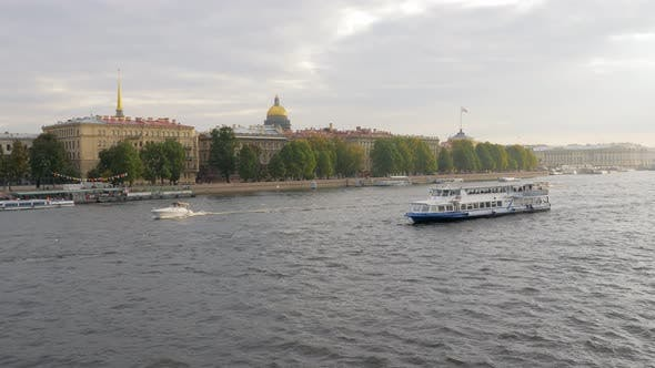 Pleasure Ship and Privat Yacht Are on Neva River in Saint Petersburg in Daytime