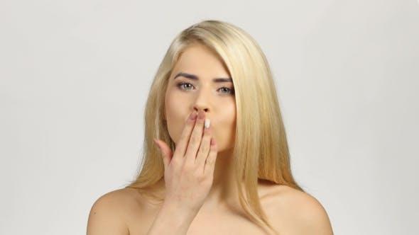 Thumbnail for Happy Joyful Woman Sent Air Kiss. White