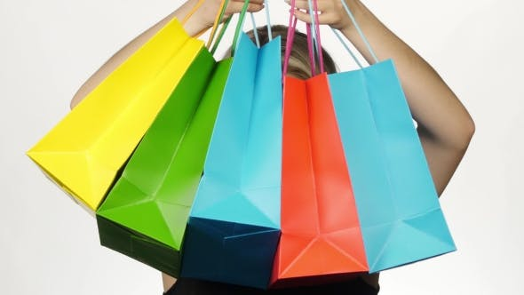Thumbnail for Beautiful Girl With Colorful Packages. Shopping. White
