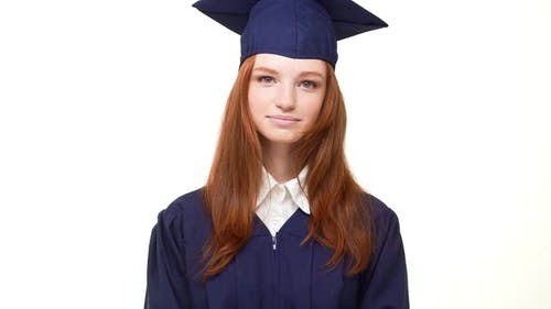 Beautiful Young Giger Caucasian Girl Laughing at Camera on White Background Wearing Blue Robe and