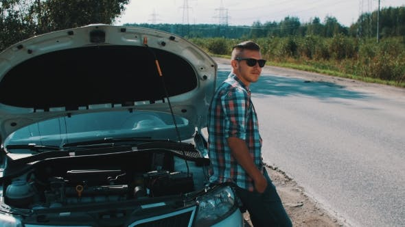 Thumbnail for Boy in Sunglasses Stay at Broken Car at Road