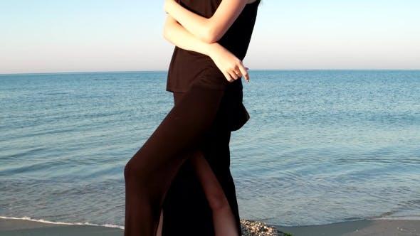 Thumbnail for Beautiful Girl Model Walks On The Shore Beach.