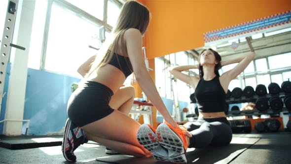 Thumbnail for Gym Woman And Her Trainer Doing Exercise At The Gym. 20S