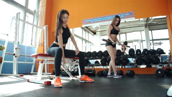 Thumbnail for Two Young Sporty Woman In The Gym Centre 20S. 1080p