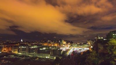 Of Edinburgh Train Station And Trains.