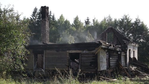 Wooden Farmhouse After a Fire