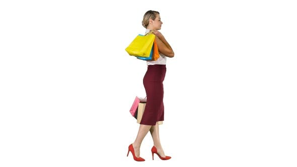 Cover Image for Happy Shopping! Woman Holding Multicolored Shopping Bags