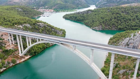 Thumbnail for Aerial Drone Footage of Bridge Over the River in Croatia