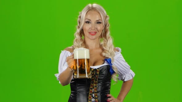 Thumbnail for Blonde Woman In Traditional Bavarian Costume. Green Screen