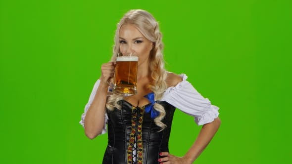 Thumbnail for Bavarian Girl Drinking Beer. Green Screen