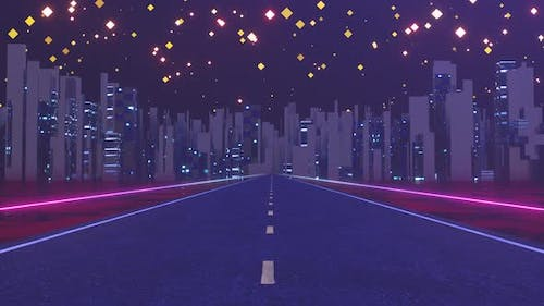 Urban road and starry sky,abstract conception.