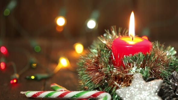 Thumbnail for One Burning Candle And Christmas Decorations