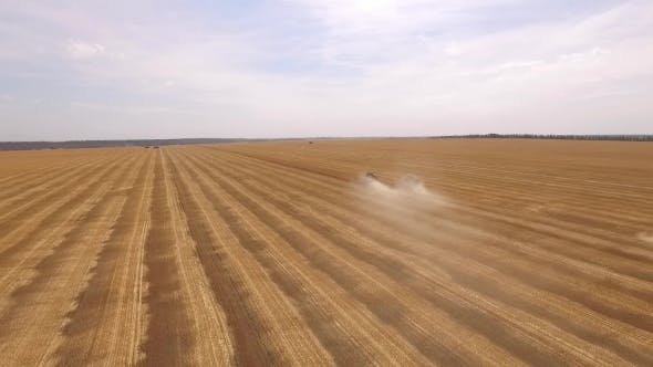 Thumbnail for Aerial Landscape Of Agricultural Grounds With Beveled Wheat And Working Combines In Harvest Time